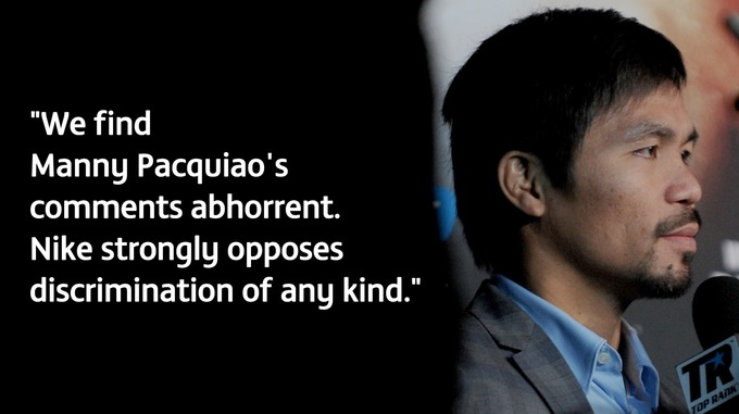 Nike Drops Manny Pacquiao Following Anti-Gay Comments.