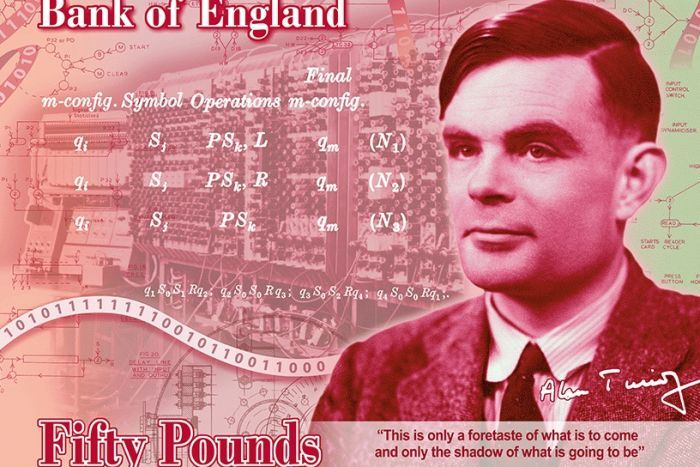 Alan Turing will appear on Bank of England's 50-pound note.